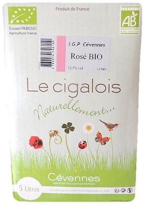 Bag in Box 5L Vin rosé Bio, Le Cigalois naturellement Bio